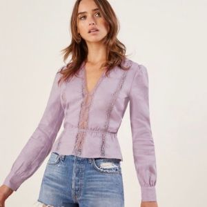Reformation Odette Top in Lilac